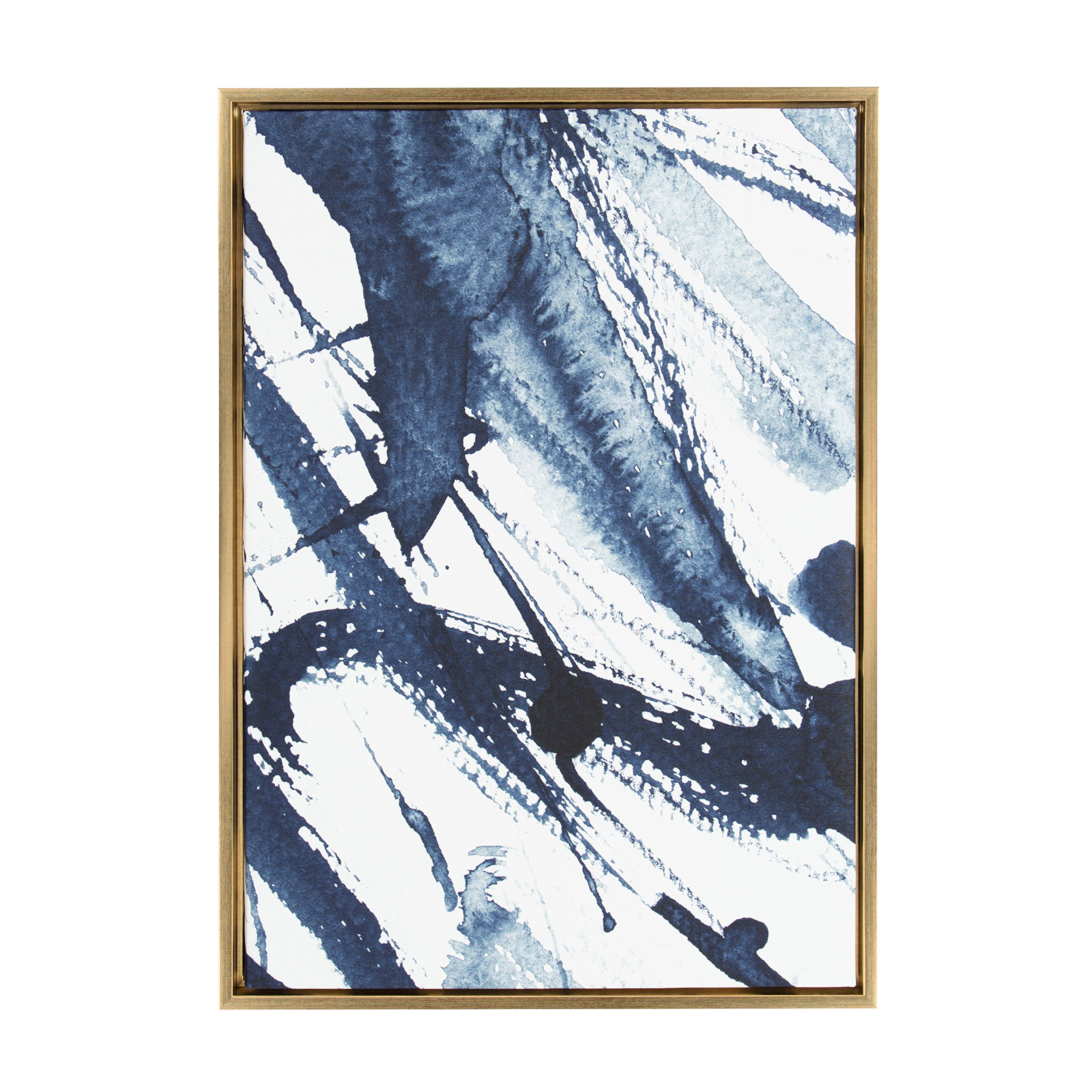 Kate and Laurel Sylvie Indigo Watercolor Framed Canvas by Amy Peterson, 23x33, Gold