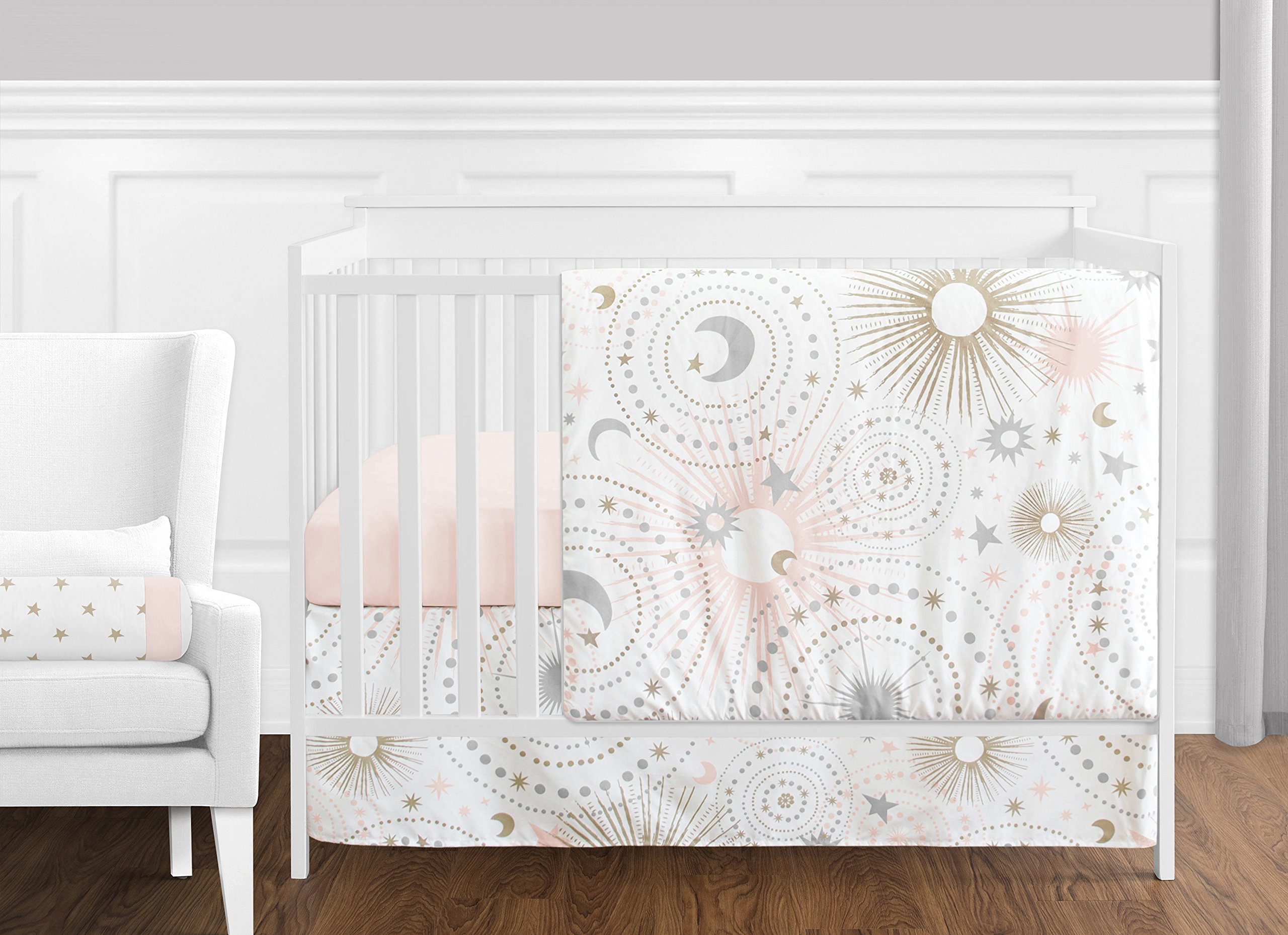 11 pc. Blush Pink, Gold, Grey and White Star and Moon Celestial Baby Girl Crib Bedding Set by Sweet Jojo Designs