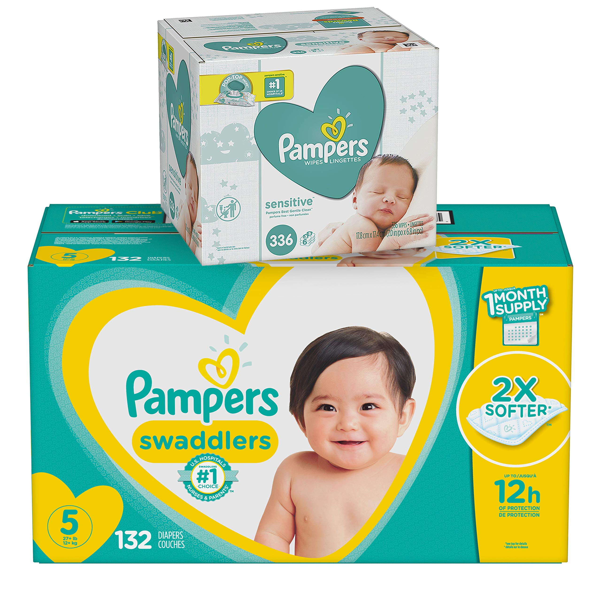 Diapers Size 5, 132 Count and Baby Wipes - Pampers Swaddlers Disposable Baby Diapers and Water Baby Wipes Sensitive Pop-Top Packs, 336 Count