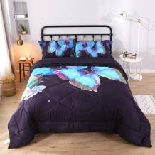 Wowelife 3D Blue Butterfly Comforter Sets Twin Butterfly and Flowers Black Pattern Bed Set 5 Piece with Comforter, Flat Sheet, Fitted Sheet and 2 Pillow Cases for Kids(Light Blue Butterfly, Twin)