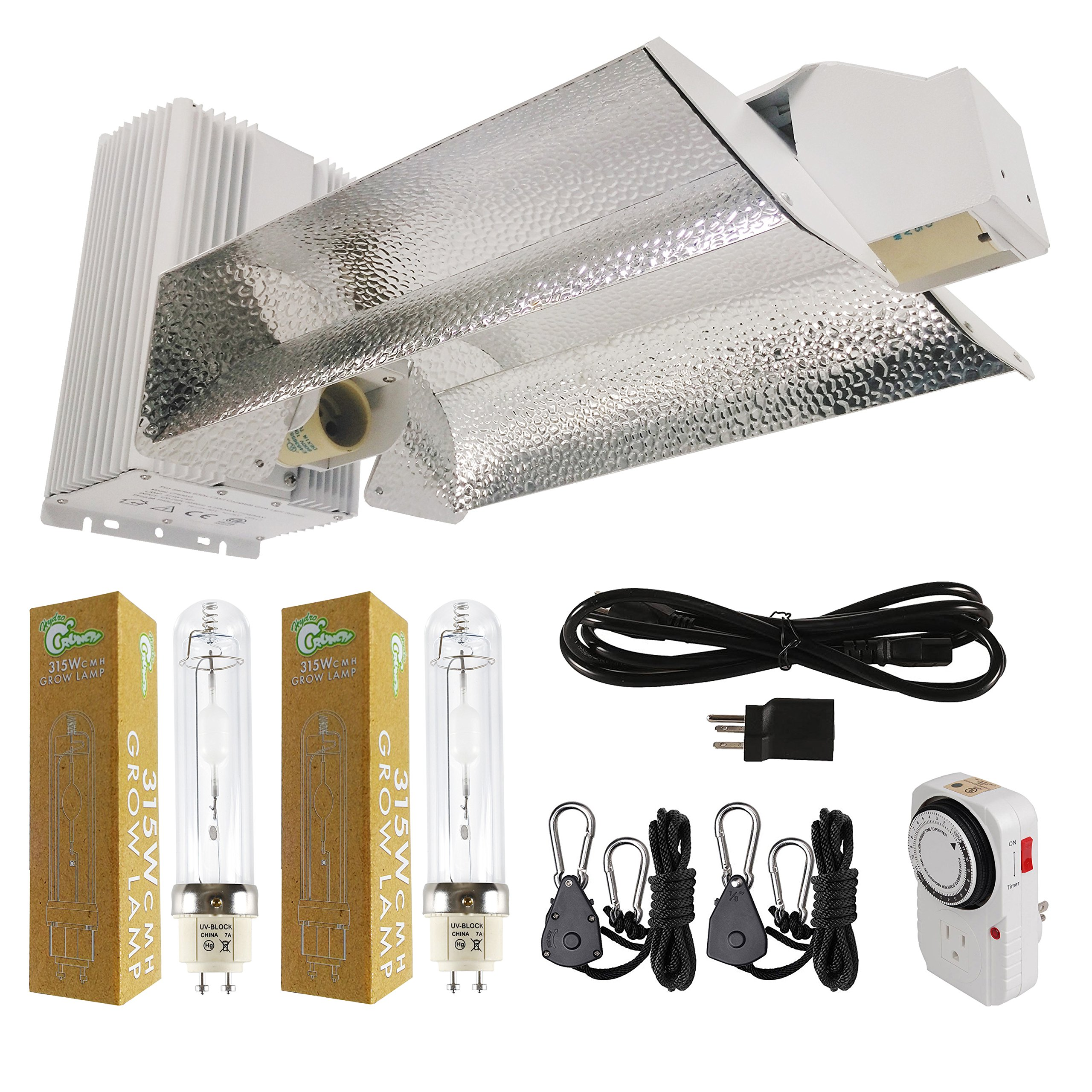 Hydro Crunch NB379900111-KIT 630-Watt Ceramic Metal Halide CMH Dual Lamp Open Style Complete Grow Light System with 3100K Full Spectrum Bulbs