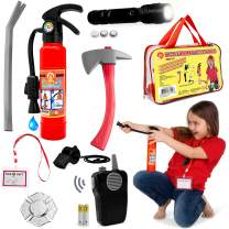 Fireman Toys Role Play Kit Great for Fireman Costume or Pretend Play Includes Fire Extinguisher Real Working Flashlight and More