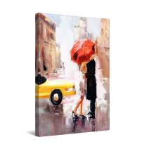 "Startonight Canvas Wall Art Abstract - Love is in The Air Red Umbrella Painting - Large Framed 32"" x 48"""