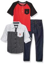 U.S. Polo Assn. Boys' Long Sleeve Woven Shirt, Color Blocked Henley, and Jean Set