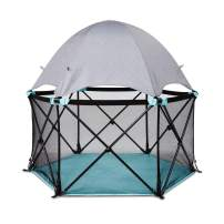 Summer Pop 'n Play Deluxe Ultimate Playard, Aqua Splash – Full Coverage Indoor/Outdoor Play Pen – Portable Playard with Fast, Easy and Compact Fold