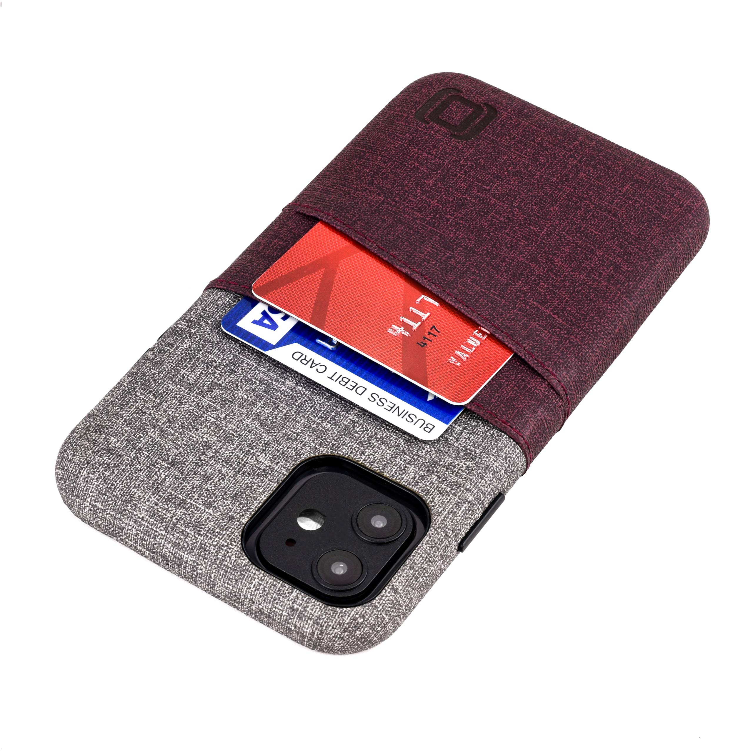 """Dockem iPhone 11 Wallet Case: Built-in Metal Plate for Magnetic Mounting & 2 Card Holders (6.1"""" Luxe M2 Synthetic Leather, Maroon & Grey)"""