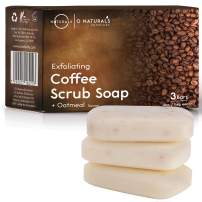 Unscented Natural Bar Soaps With Exfoliating Coffee Granules Scrub. Moisturizing Face & Body Soap. Remove Dead Skin Anti Cellulite Oatmeal Organic Ingredients Vegan. Women & Men Triple Milled 3-Pc 4oz