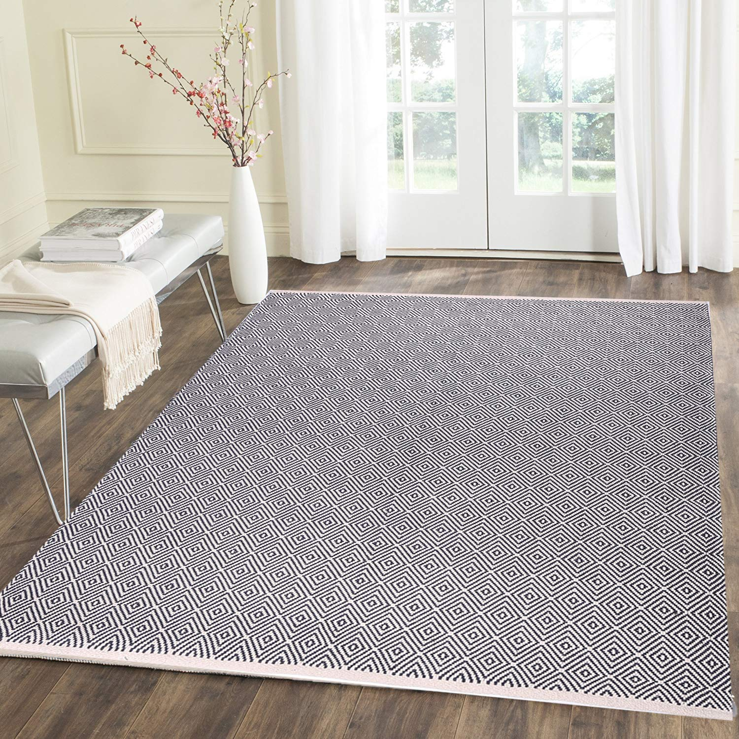 HEBE Cotton Area Rug 4' x 6' Machine Washable Reversible Indoor Area Rug/Mat Hand Woven Cotton Area Rugs for Living Room, Bedroom, Laundry Room, Entryway