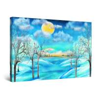 """Startonight Canvas Wall Art Abstract - Teal Winter Landscape and Sun Painting - Large Framed 32"""" x 48"""""""