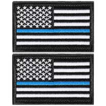 2 Pieces Tactical USA Flag Patch American Flag US United States of America Regular and Reverse Military Uniform Emblem Patches (Black & Blue - 2 Packs Regular)