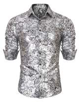 URRU Men's Golden Rose Luxury Design Slim Fit Long Sleeve Button Down Flowered Printed Stylish Silver Dress Shirt