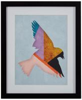 "Rivet Color Blocking Geometric Purple, Teal, Gold Bird Print Wall Art in Black Frame, 13"" x 15"""