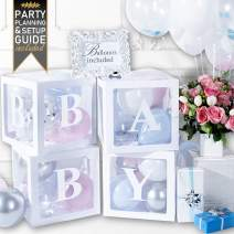 Baby Shower Decorations & Gender Reveal Party Supplies - 52 Piece Premium Pearl White Baby Balloon Letter Blocks for Girl & for Boy with Balloons Included