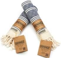 (Set of 2) DEMMEX Certified 100% Organic Cotton & Organic Dye Prewashed Diamond Weave Turkish Hand Face Gym Towel, 18x36 Inches (Navy)