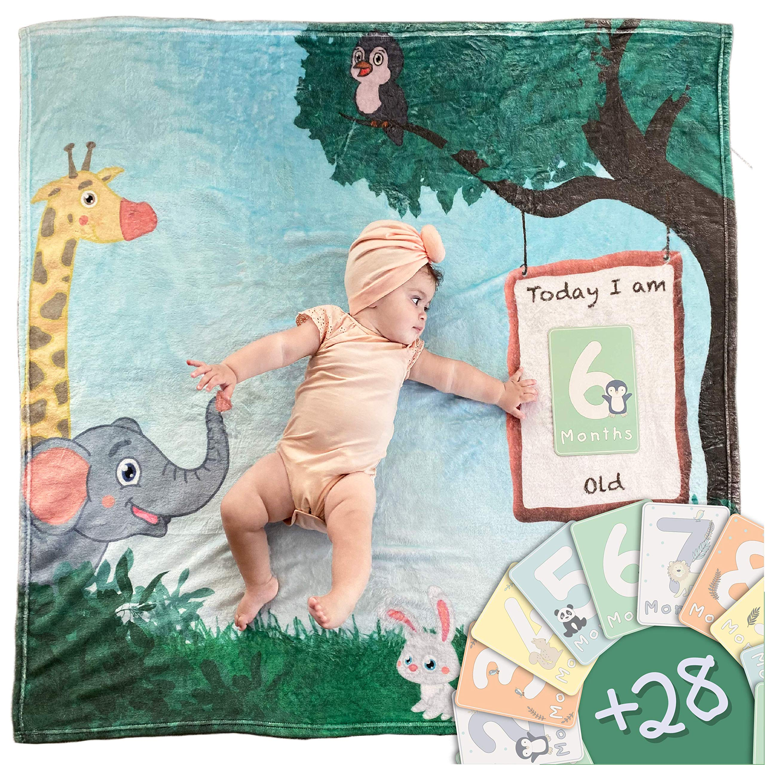"Baby Monthly Milestone Blanket for Boy and Girl by Linda's Essentials- Animal Themed Photo Blanket with Props for Newborns - 28 Milestone Cards - Large 47""x47"""