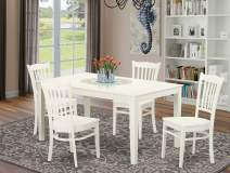 East West Furniture CAGR5-LWH-W Dining Room Table Set 5 Piece - Wooden Wood Dining Chairs Seat - Linen White Finish Dining Room Table and Body