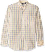 IZOD Men's Button Down Long Sleeve Stretch Performance Plaid Shirts