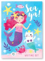 Jewelkeeper Mermaid Design Writing Kit with Glitter, Girls Stationery Paper Letter Set, Stickers, Envelope Seals