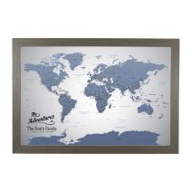 Push Pin Travel Maps Canvas - Personalized Blue Ice World with Barnwood Gray Frame