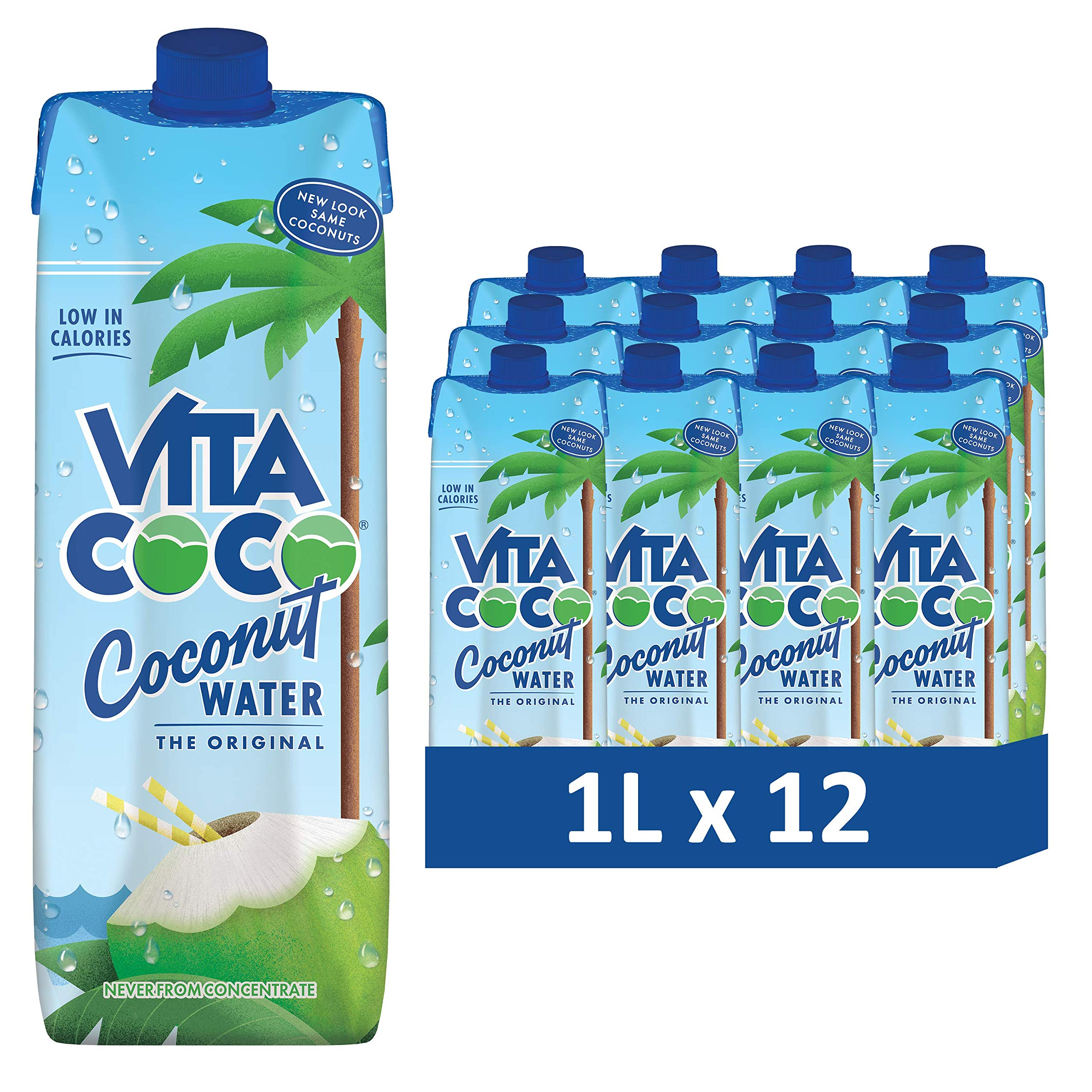 Vita Coco - Pure Coconut Water (1L x 12) - Naturally Hydrating - Packed With Electrolytes - Gluten Free - Full Of Vitamin C & Potassium