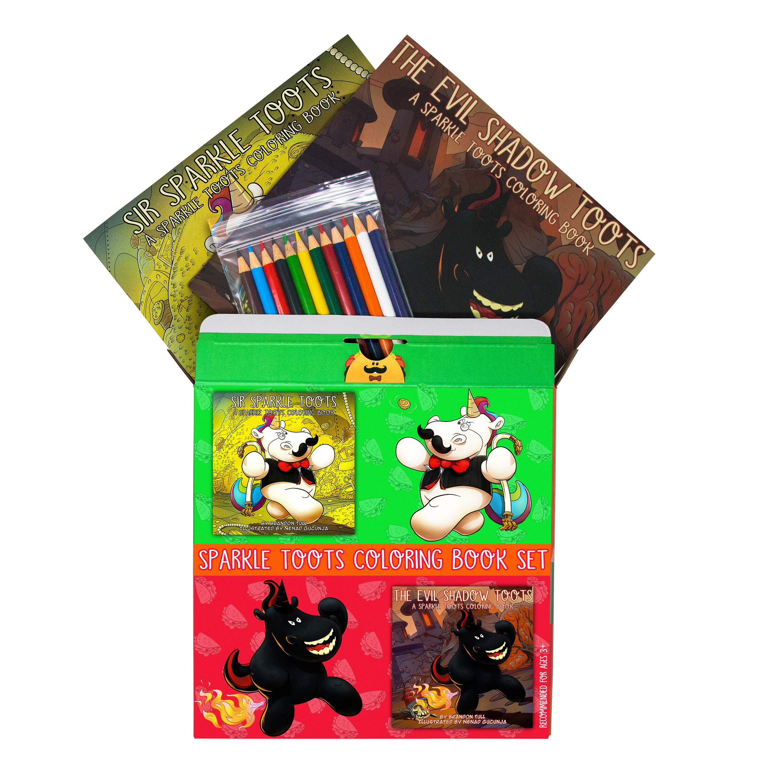 Sparkle Toots Coloring Book Set - Includes Two Coloring Books & 12 Colored Pencils - Unique Gag Gift, Funny for All Ages