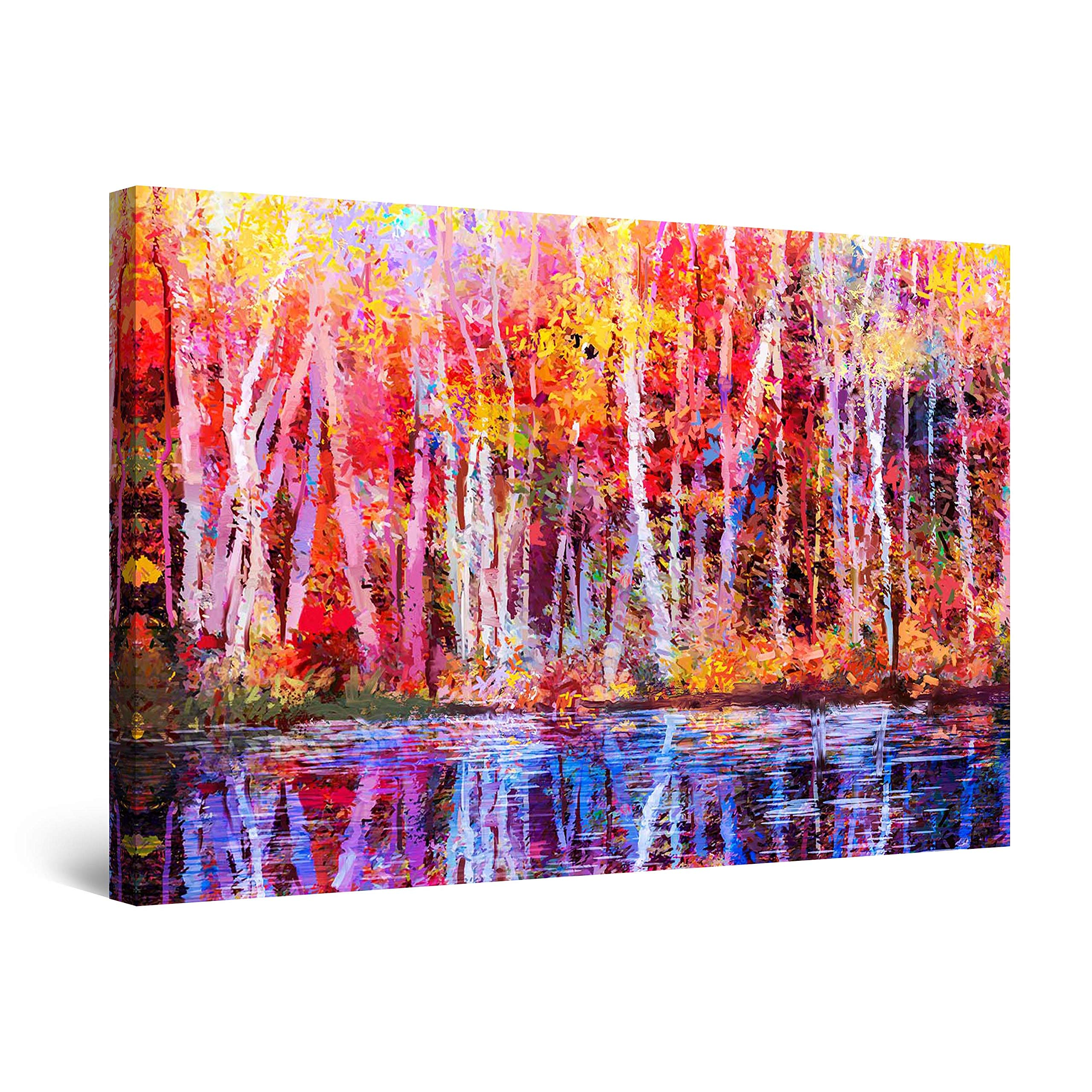 """Startonight Canvas Wall Art Abstract - Colored Landscape Forest Trees Spain Painting - Framed 24"""" x 36"""""""