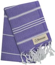 Bersuse 100% Cotton - Anatolia Hand Turkish Towel Pestemal - Baby Care Kitchen Tea Dish Washcloth - Travel Gym Head Hair Face Peshtemal - Classic Striped - 22X35 Inches, Dark Purple