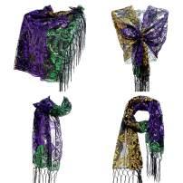Frienda Mardi Gras Poncho Costume Scarf Shawl Masquerade Party Favor (Purple)