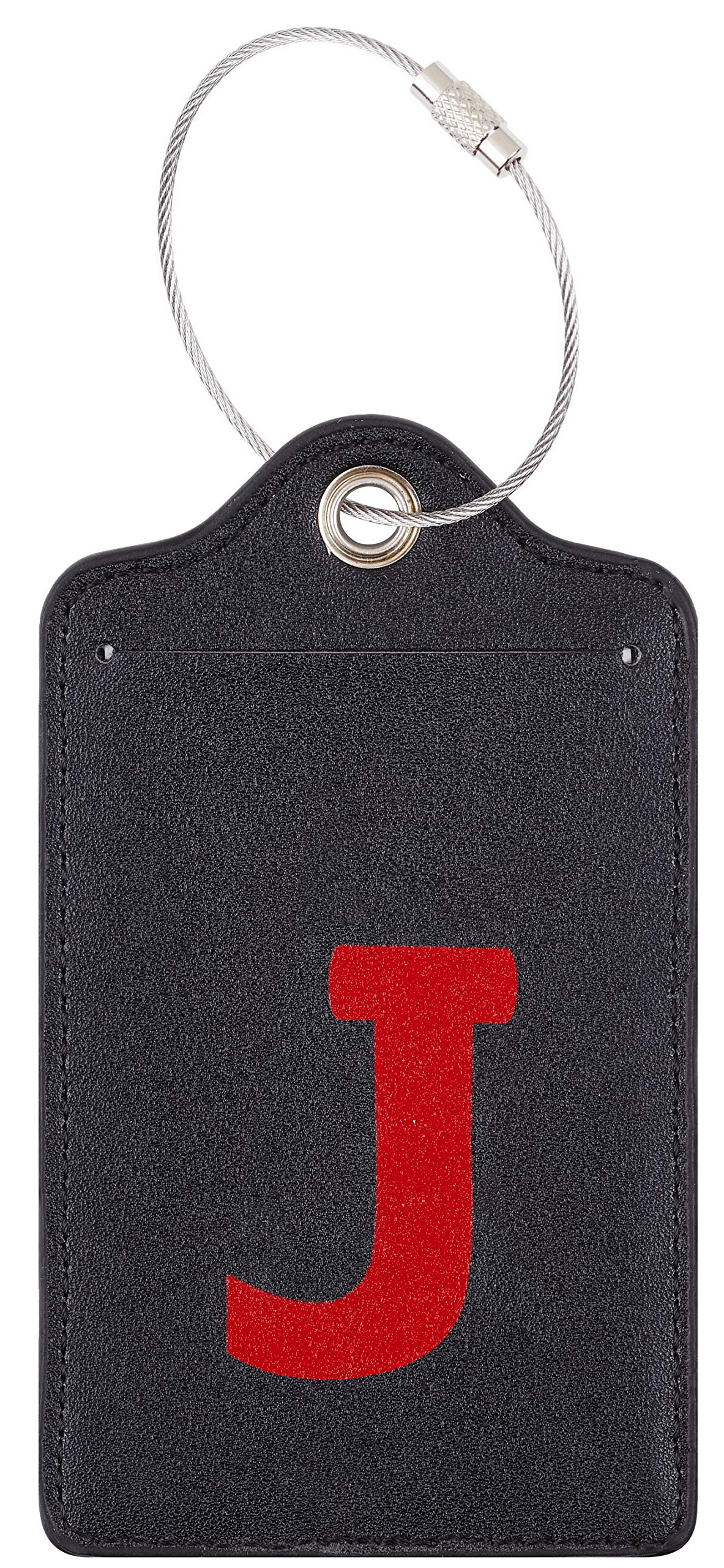 Chelmon Initial Luggage Tag with Full Privacy Cover and Stainless Steel Loop (J)