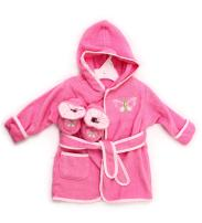Spasilk 100% Cotton Hooded Terry Bathrobe with Booties—Baby Girl Gifts—Baby Boy Gifts—0-9 Months—Shower Gift, Pink Butterfly