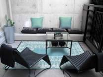 Green Decore Fresco Plastic Stain Proof Patio Outdoor Rug (Eggshell White, 6x9)