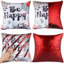 EVERMARKET Mermaid Throw Pillow Cover,Magic Reversible Sequin Cover, Throw Cushion Decorative Pillow Case That Change Color (Be Happy Flower- Red Sequin)