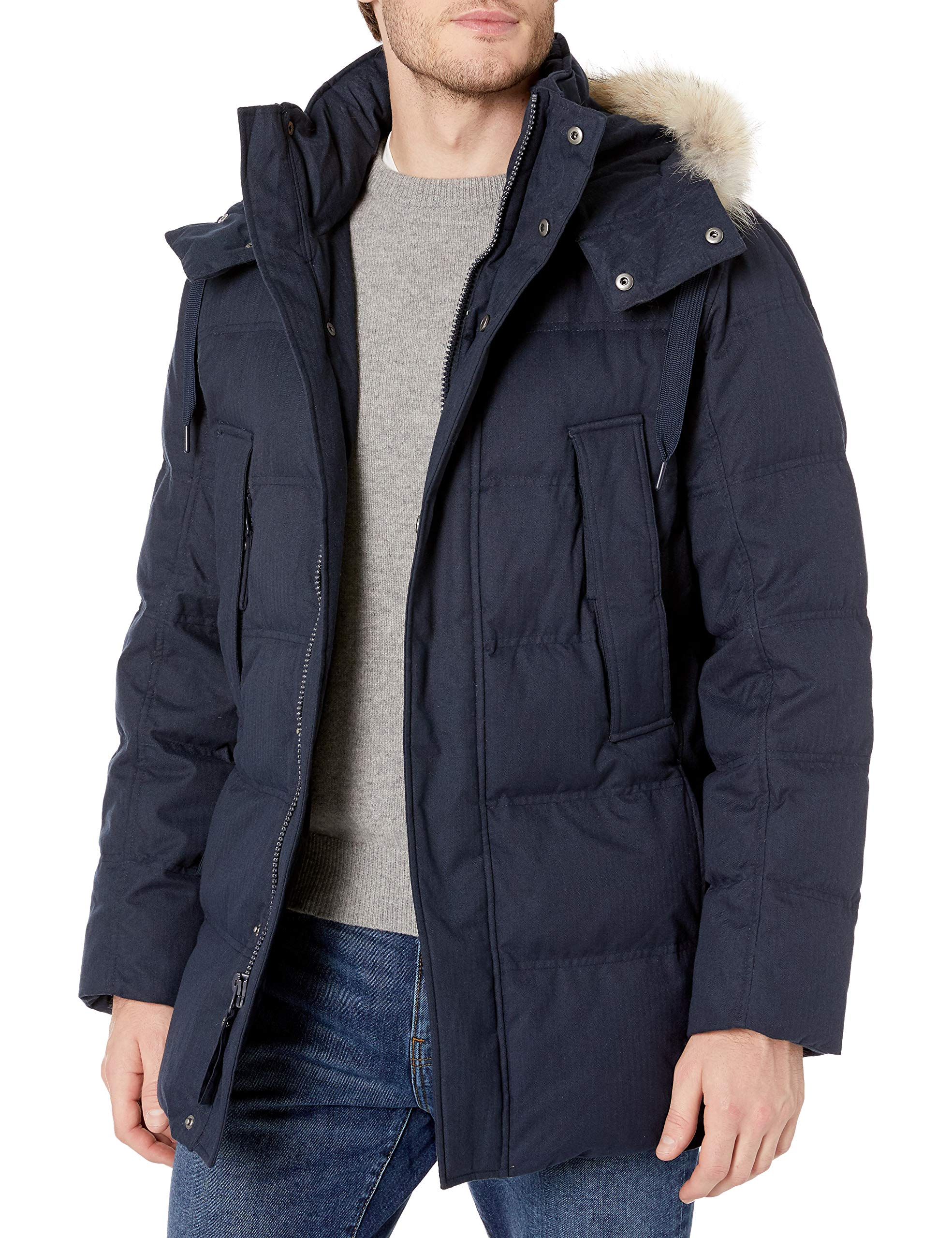 Marc New York by Andrew Marc Men's Cumberland Rinted Down Filled Parka W/Coyote Trimmed Removable Hood