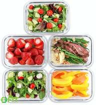 1 Compartment Glass Meal Prep Containers (5 Pack, 35 oz) - Glass Food Storage Containers with Lids, Glass Lunch Box, Glass Bento Box Lunch Containers, Portion Control, Airtight