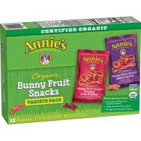 Annie's Organic Bunny Fruit Snacks, Variety Pack, 12 Pouches, 144 Pouches, 0.8oz (Pack of 12)