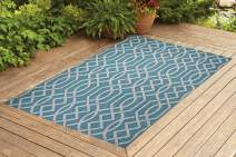 Benissimo Indoor Outdoor Rug Ribon Collection Non-Skid, Natural Sisal Woven and Jute Backing Area Rugs for Living Room, Bedroom, Kitchen, Entryway, Hallway, Patio, Farmhouse Decor 4x6, Turquoise
