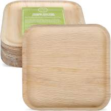 """Pure Palm Planet Friendly Palm Leaf Plates; Bamboo-Style, Upscale Disposable Dinnerware; All-natural Biodegradable Plates (6"""" Square) (25 Pack)"""