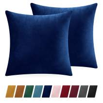 Sleep Mantra Throw Pillow-Covers 20x20 Deep-Blue Velvet - Plush Decorative 2 Piece Solid Square Pillow Case Set, Washable Fade Resistant Home Decor Cushion Shams for Bedroom Sofa