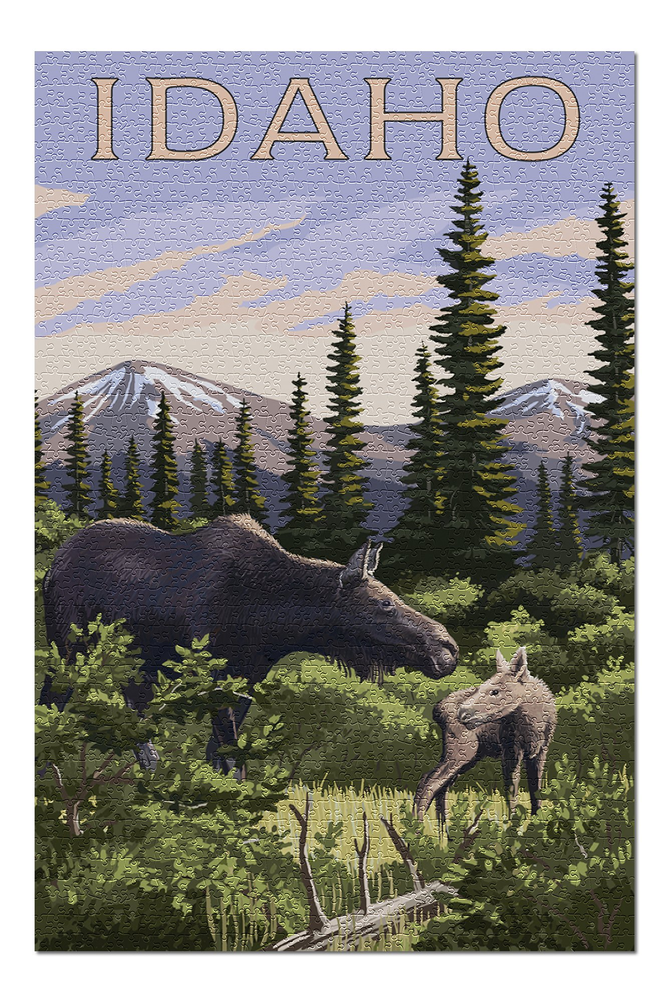 Idaho - Moose and Baby (Premium 1000 Piece Jigsaw Puzzle for Adults, 20x30, Made in USA!)