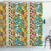 "Ambesonne Striped Shower Curtain, Colorful Summer Spring Retro Patchwork Style Pattern Sunflower Butterfly Strawberry, Cloth Fabric Bathroom Decor Set with Hooks, 84"" Long Extra, Blue Yellow"