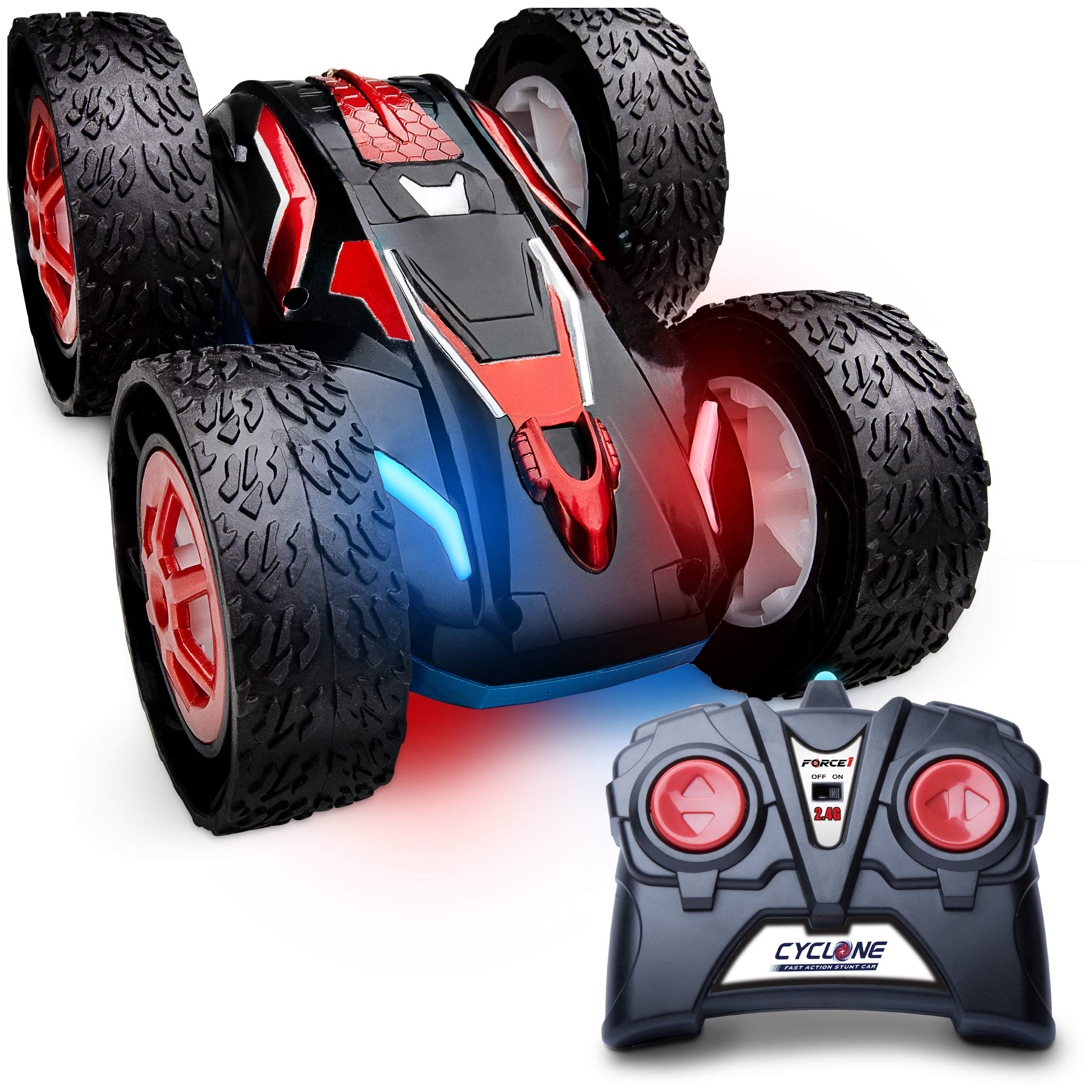 Force1 Cyclone Remote Control Car for Kids - Double Sided Fast Off Road Stunt Car for Car Racing, RC Cars for Boys and Girls w/ 2 Rechargeable Toy Car Batteries
