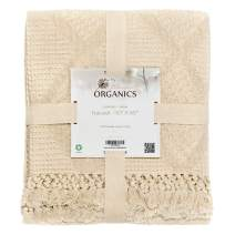 Whisper Organics Organic Cotton Throw Blanket G.O.T.S. Certified, Hypoallergenic (50x60, Natural)