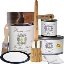 Retique It Chalk Finish Paint by Renaissance - Non Toxic, Eco-Friendly Chalk Furniture & Cabinet Paint - Deluxe Starter Kit, Snow