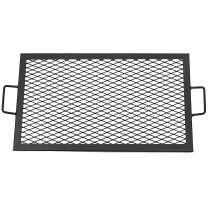 Sunnydaze X-Marks Fire Pit Cooking Grill Grate - Outdoor Rectangle Black Steel BBQ Campfire Grill with Handles - Metal Camping Cookware and Accessory - 26 Inch