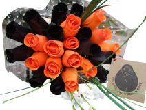 The Original Wooden Rose Halloween Black and Orange Flower Bouquet Closed Bud (2 Dozen)