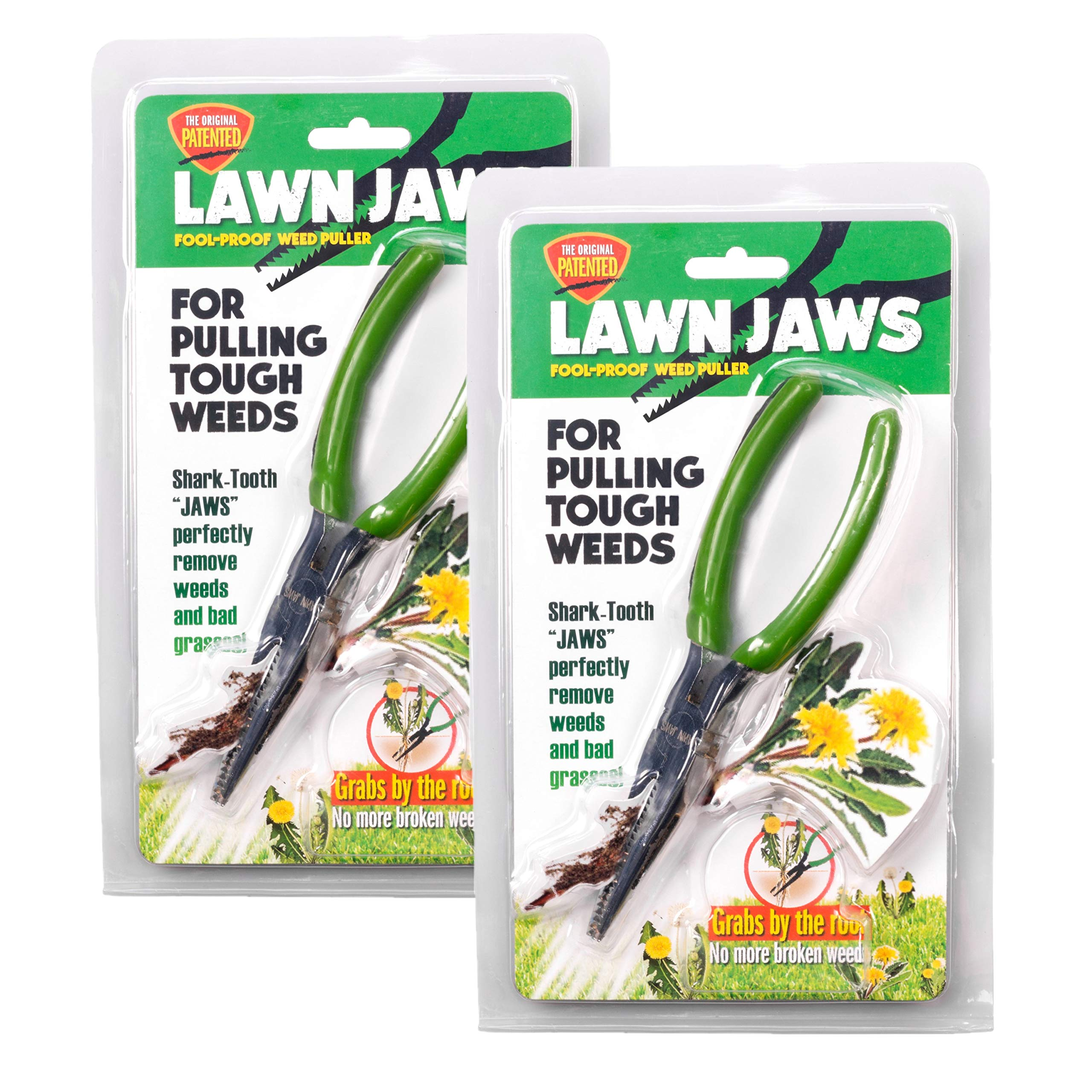 Lawn Jaws The Original Sharktooth Weed Puller Remover Weeding & Gardening Tool Weeder - Pull from The Root Easily! - Value Pack, 2 Weed Pullers