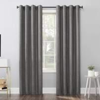 "Sun Zero Pasqual Distressed Chevron Thermal Extreme 100% Blackout Grommet Curtain Panel, 52"" x 84"", Steel Gray"