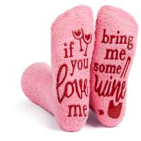 Lavley - Womens Novelty Socks - Soft Cozy Pink Fuzzy 'If You Love Me' Socks