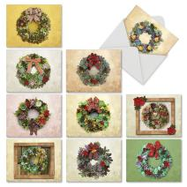 10 Assorted 'Succulent Wreaths' Merry Christmas Cards with Envelopes 4 x 5.12 inch, Boxed Greeting Cards with Festive Succulent Arrangements, Stationery for Holidays, Gifts, Postcards M2942XSG