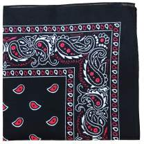 Pack of 5 X Large Paisley 100% Premium Cotton Double Sided Printed Bandana - 27 x 27 inches